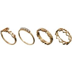 ASOS Love Midi Ring Pack (29 BRL) ❤ liked on Polyvore featuring jewelry, rings, accessories, aneis, fillers, gold, gold ring, gold jewellery, midi rings jewelry and asos