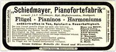 Original-Werbung/ Anzeige 1898 - SCHIEDMAYER PIANOFORTEFABRIK - STUTTGART - ca…