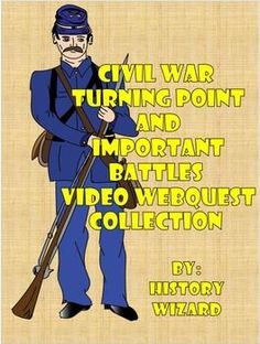 These amazing video worksheets cover key battles and campaigns of the Civil War. My students enjoy and are engaged by these 15-20 minute video worksheets. Most importantly, they helped increase student knowledge and understanding of the Civil War.The following Civil War video webquests are included in the collection:Antietam Civil War Video WebquestGettysburg Civil War Video WebquestVicksburg Civil War Video Webquest.I would like to thank Teach Reflect Create for the wonderful clip art.
