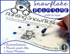 Speech Therapy: Winter print-and-go packet including 51 Q-tip painting pages targeting 23 different phonemes. Students use Q-tips or the eraser end of a pencil to dab the dots on the snowflakes after each correct production. These print-and-go winter pages are used to engage children while working on speech sounds and fine motor skills at the same time!