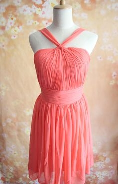 Hey, I found this really awesome Etsy listing at https://www.etsy.com/listing/201688118/coral-bridesmaid-dress-halter-bridesmaid