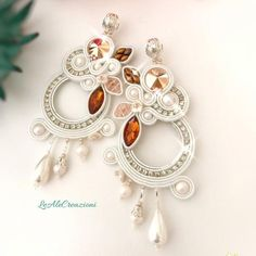 Wedding hoop soutache embroidered earrings Pearl clip on circle white earrings Soutache chic jewelry Bridal woman gift White Earrings, Pearl Earrings, Bead Embroidered Bracelet, Rakhi Design, Soutache Earrings, Polymer Clay Charms, Shibori, Handmade Necklaces, Bridal Jewelry