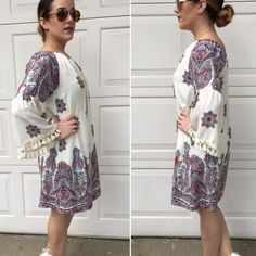 Paisley print shift dress Fully lined paisley print shift dress with fringed bell sleeves Please do not purchase this listing. Comment with size and I will create a new listing for you. Small (2/4) Medium(sold out) Large (10/12). Price is firm unless bundled. 100% rayon Dresses