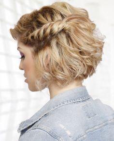 Short bob with side braid / bridesmaid hair for certain maids