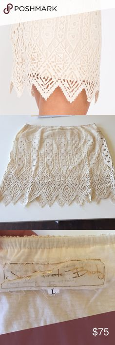 Jen's Pirate Booty Forever Young Aztec Mini Beautiful cream colored skirt by Jen's Pirate Booty fully lined with intricate lace overlay. Would look great with tights and a sweater as the weather gets cooler. Completely sold out. NWT never worn. Size Large Jen's Pirate Booty Skirts Mini