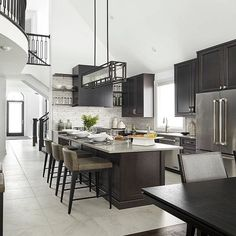 Yesterday I shared with you that I'm considering going with black cabinets in th… – Home Decor Galley Style Kitchen, Kitchen Design, Decor Interior Design, Interior Decorating, Stand Alone Tub, Grand Kitchen, Storey Homes, Boho Home, Décor Boho