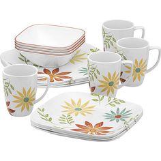 Corelle Squares Happy Days Lightweight 16-Piece Dinnerware Set - Walmart.com  sc 1 st  Pinterest & Corelle Favourite Fleur dinnerware set @macys | Pattern Inspiration ...