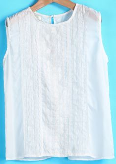 White Sleeveless Embroidered Chiffon Vest GBP£9.59
