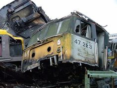 The sickening remains of 47223 (ex D1873) at Booth's, Rotherham on 26th Feb 2005.