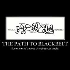 The path to black belt...truth white, orange, yellow, green, blue, purple, purple trim, brown, red, black
