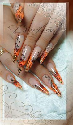 orange valentine by Darhon - Nail Art Gallery nailartgallery. by Nails Maga. - orange valentine by Darhon – Nail Art Gallery nailartgallery.na… by Nails Maga… – nail art - Butterfly Nail Designs, Orange Nail Designs, Cute Nail Designs, Gorgeous Nails, Pretty Nails, Nailart, Edge Nails, Claw Nails, Nail Candy