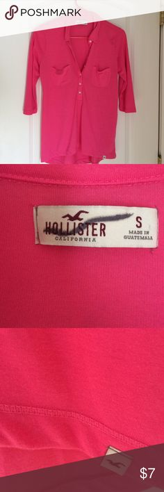Shirt Hollister 3/4 sleeve cotton shirt.  Size small.  I purchased it at TJ Maxx which is why the tag is crossed out.  Worn just a couple times.  No stains or rips.  Great condition.  Washed in cold water only, never machine dried. Hollister Tops Tees - Long Sleeve