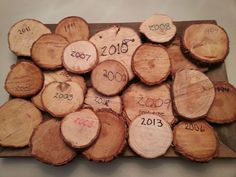 Save a slice of your Christmas tree trunk every year...PRECIOUS