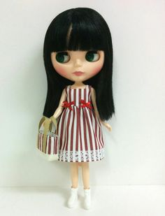 Red and White Striped Dress for Neo Blythe & by SKSungDesigns