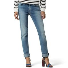Tommy Hilfiger Final Sale-Sun Bleached Slim Fit Jeans ($50) ❤ liked on Polyvore featuring jeans, cigarette jeans, bleached jeans, faux-leather jeans, slim leg jeans and slim low waist jeans