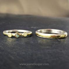 wedding rings silver gold labradorite
