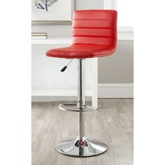 @Overstock.com - Safavieh Arissa Red Adjustable Height Swivel Bar Stool - Designed for maximum support and style, the high back of the Arissa Barstool is perfect for contemporary and transitional interiors. Constructed with chrome and red faux leather, its design ensures durability doesn't take a back seat.  http://www.overstock.com/Home-Garden/Safavieh-Arissa-Red-Adjustable-Height-Swivel-Bar-Stool/7870023/product.html?CID=214117 $69.96