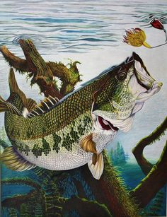 Baiting The Big One Drawing ~ by Bruce Bley on Fine Art America.