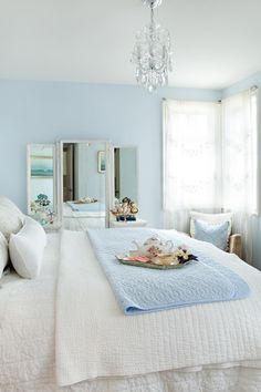 Light Blue and White Bedroom - Light Blue and White Bedroom, Light Blue Bedroom with Pale Blue Ceiling Transitional Blue Bedroom Decor, Romantic Bedroom Decor, Stylish Bedroom, White Bedroom, Bedroom Colors, Bedroom Ideas, Master Bedroom, Master Suite, Narrow Bedroom
