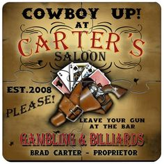 Cowboy Saloon Personalized Drink Coasters Puzzle Set. Idle hands do the devil's work. That's why we offer these unique custom coaster sets that double as both surface protectors and a miniature puzzle to provide endless hours of entertainment. Personalized Cowboy Saloon coaster sets include a place for two lines of text plus established year worked into a wide variety of full-color designs. These coasters are made to look like they came straight from the neighborhood pub, so