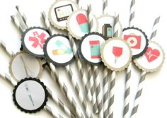 12 Vintage Medical Party Straws, Doctor Theme, Birthday Toppers, Hospital Party Decor, Nurse Party, Medical School Party, Graduation by thepartypenguin on Etsy