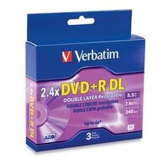DVD+R DL 8.5GB/240 MIN 2.4X3PK (95014) - by Verbatim. $16.08. Preferred by DVD drive manufacturers, Verbatim DVD media continues to set the standard for high-speed disc performance, reliability, and compatibility. DVD+R Double Layer nearly doubles the storage capacity with two AZO recording layers on a single-sided disc. Certified and supported by the industry high speed Double Layer writers, Verbatim discs are approved for high speed burning up to 6x speeds. Store up to 8.5GBs...