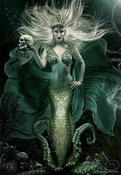 My Boudoir Photography #mermaid #dark #underwater #holding #skull #floating #hair