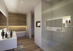 Innenausbau komplett Alcove, Bathroom Lighting, Bathtub, Interior Design, Mirror, House, Furniture, Home Decor, Bathroom Ideas