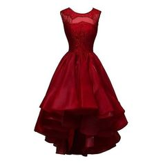 Classic Jewel Sleeveless High-Low Dark Red Homecoming Dresses Beaded... ❤ liked on Polyvore featuring dresses, lace homecoming dresses, lace dress, beaded cocktail dress, hi low dress and red cocktail dress