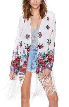 White Tassel Hem Long Sleeves Chiffon Floral Blouse