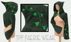 A super snuggly fleece long sleeved shrug by TPF Faerie Wear. With a short Concise Pixie hood , long slightly flared Sidhe sleeves, a cute point on