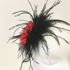 Red Black Headband, Red Flower Feather Headband, Dance Costume, Bridal Headband, Pageant Headband by FancyGirlBoutiqueNYC on Etsy