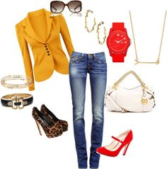 """""""Mustard Yellow and Red for Fall"""" by pickypalate on Polyvore"""