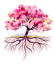 Blooming Family Tree with Roots royalty-free stock illustration