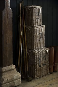 rattan storage baskets -- I like the numbers. Old Baskets, Wicker Baskets, Vintage Baskets, Wainscoting Stairs, Wainscoting Height, Black Wainscoting, Painted Wainscoting, Wainscoting Ideas, Bountiful Baskets