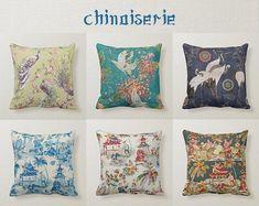 Chinoiserie Pillow Cover Tree Peony Pillow Cover Bird | Etsy Floral Pillows, Blue Pillows, Velvet Pillows, Custom Pillows, Decorative Throw Pillows, Turquoise Pillows, Blue Pillow Covers, Cotton Pillow, Cotton Linen