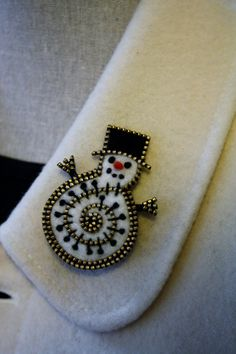 Felt and zipper snowman brooch by woollyfabulous on Etsy
