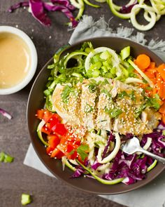 This simple main course chicken salad has the most amazing cashew butter dressing and is packed with vegetables! So much flavor, texture, and a meal that can be made in less than 20 minutes. Kid friendly, Paleo, and Gluten-Free! I would like to personally thank the creator of the spiralizor craze, and ask the peeps...Read More »