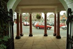 Kirkby Stephen, looking through the Cloisters to the Market Square.