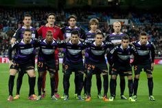 Real Valladolid line up prior to start the La Liga match between Real Madrid CF and Real Valladolid CF at Estadio Santiago Bernabeu on Novem...