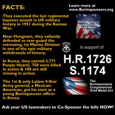 In support of H.R.1726 & S.1174. Co-Sponsors in Congress NEEDED! www.Borinqueneers.org Us Military, Military History, Puerto Rico, Congressional Gold Medal, Acting, Facts, Learning, Computer File, Puerto Ricans