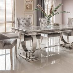 Kesley dining table rectangular in grey marble top with stainless steel base, will be a fabulous and energetic addition in any dining room - 38994 marble dining table and 6 chairs, modern & contemporary. Marble Top Dining Table, Dining Room Table, Table And Chairs, Dining Chairs, Dining Set, Unique Dining Tables, Lamp Table, Grande Table A Manger, Stainless Steel Furniture
