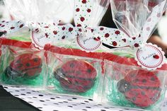 ladybug cookies in bug catchers with easter grass - party favors