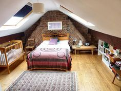 exposed brick chimney in loft conversion bedroom