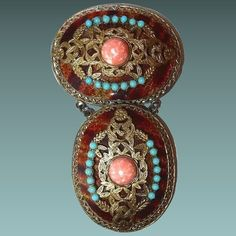 Dangle Filigree Brooch with Faux Tortoise Shell Turquoise and Coral : BanGLEs and BeaDs antique and vintage jewelry   Ruby Lane
