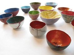 SARAH PERKINS COLLECTION OF BOWLS Copper, enamel, silver, silver leaf Various sizes