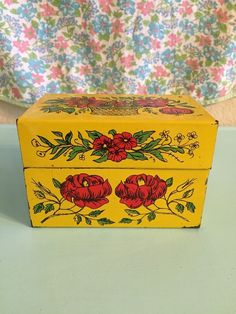 Vintage Yellow Red Flowers Recipe Box Syndicate Metal  | eBay