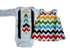 Rainbow Chevron Dress and Shirt Set for Twins: I can't get enough Chevron! $55.00 /set