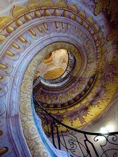 spiral staircase at Melk Abbey, Austria