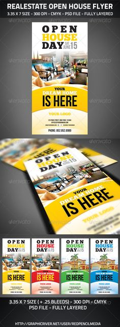 Realestate Open House Flyer - GraphicRiver Item for Sale Real Estate Flyers, Real Estate Business, Real Estate Tips, Real Estate Investing, Real Estate Marketing, Open House Invitation, Invitation Wording, Invitation Templates, Real Estate Postcards